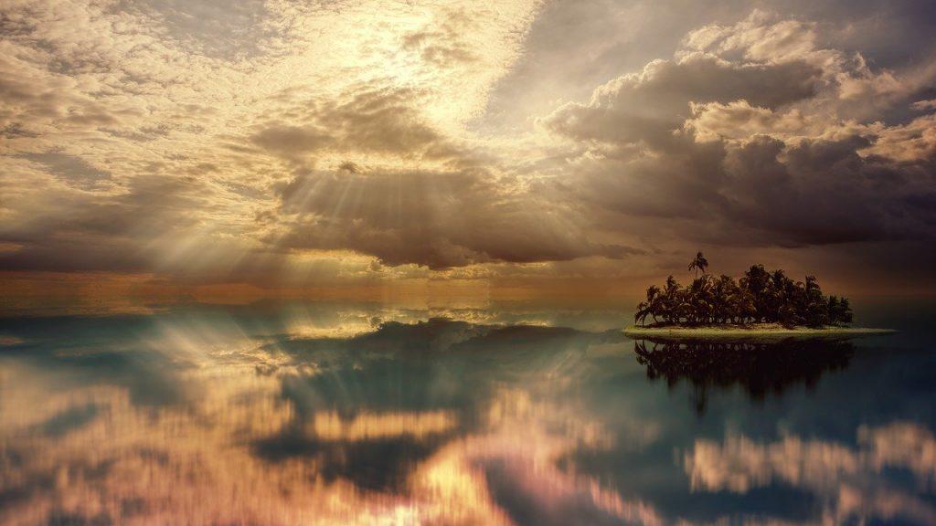sunset-3711270 サンセット オーシャン 島 海 水 空 風景 自然 夕暮れ 日の出 夜 夏 反射 湖